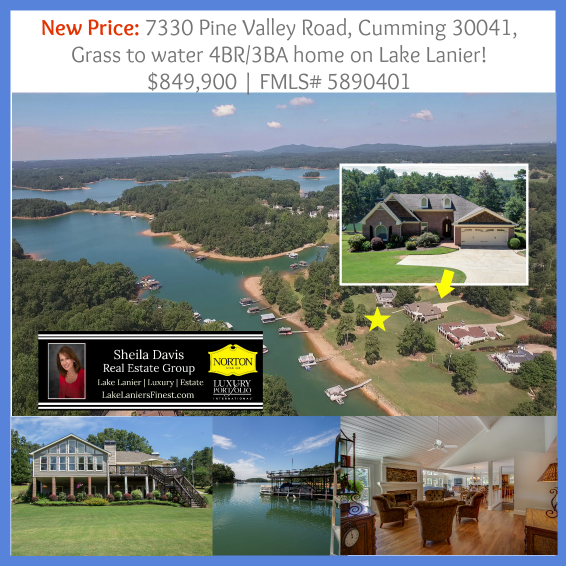 7330 Pine Valley Rd Price Reduction, Home for sale on Lake Lanier, Cumming, GA