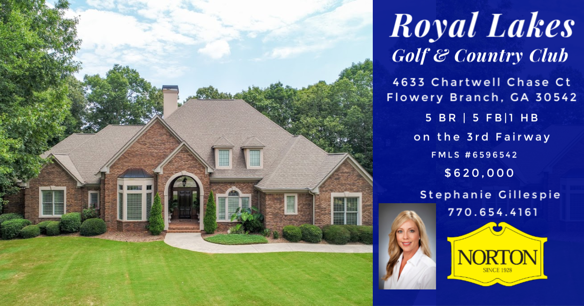Golf home for sale 3rd fairway Royal Lakes, Flowery Branch, GA