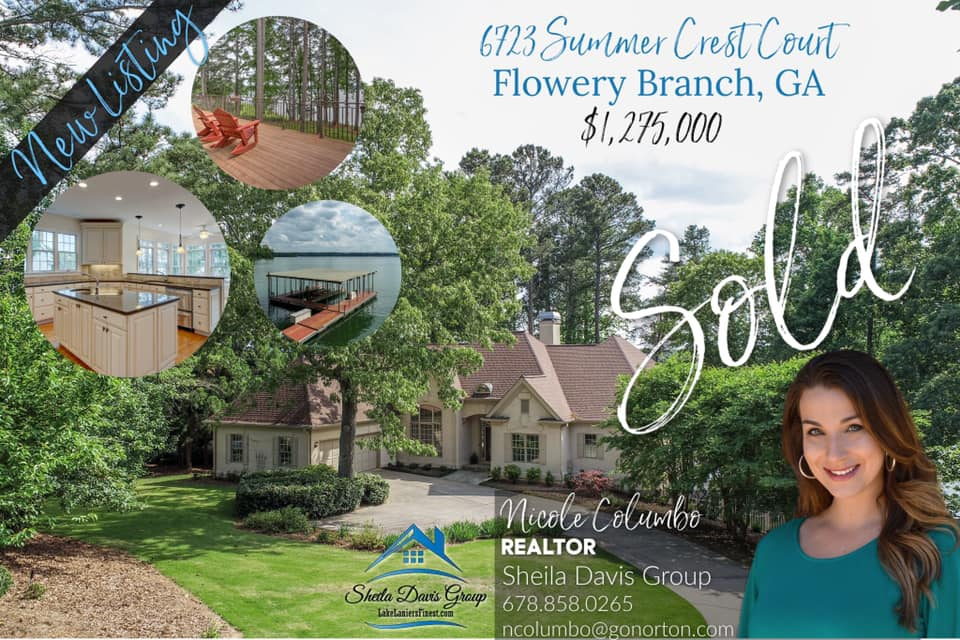 JUst sold on Lake Lanier sheila davis group Nicole columbo norton